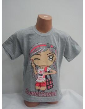 Yüz Baskılı Kız Çocuk T-Shirt
