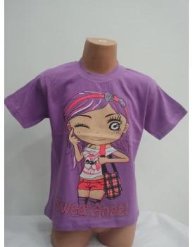 Yüz baskılı mor kız çocuk tshirt