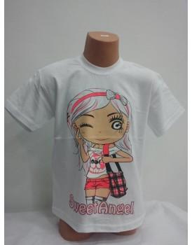 Yüz baskılı beyaz kız çocuk tshirt
