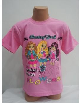 Barbie Baskılı Pembe Kız Çocuk T-Shirt
