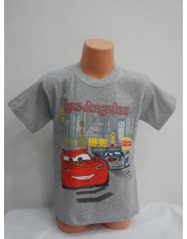 Arabalar Baskılı Gri Erkek Çocuk T-Shirt