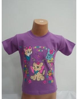 Kedi Baskılı Mor Kız Çocuk T-Shirt