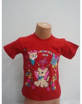 Kedi Baskılı Kırmızı Kız Çocuk T-Shirt