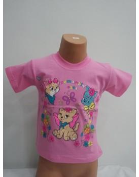Kedi Baskılı Toz Pembe Kız Çocuk T-Shirt