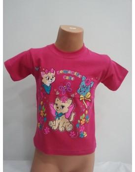 Kedi Baskılı Koyu Pembe Kız Çocuk T-Shirt