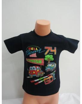 Baskılı Siyah Erkek Çocuk T-Shirt