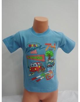 Baskılı Mavi Erkek Çocuk T-Shirt