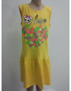 Baskılı Sarı Kız Cocuk Elbise