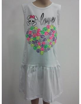 Baskılı Beyaz Kız Cocuk Elbise