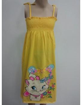 Kedi Baskılı Sarı Uzun Kız Çocuk Elbise