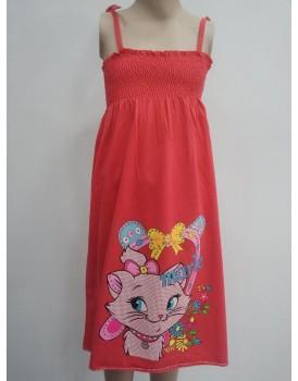 Kedi Baskılı Kırmızı Uzun Kız Çocuk Elbise