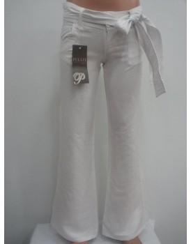 Beyaz Saten Kadın Pantolon