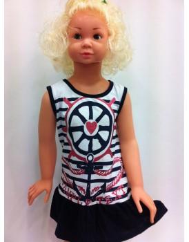 Denizci Lacivert Kız Çocuk Elbise