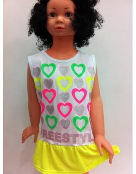 Fosforlu Sarı Kız Çocuk Elbise