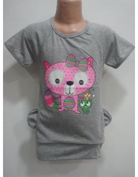 Gri Baskılı  Kız Çocuk T-Shirt