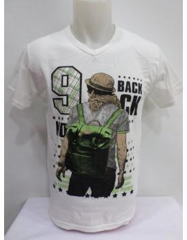 Beyaz Baskılı Erkek T-shirt