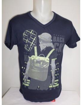 Lacivert Baskılı Erkek T-shirt