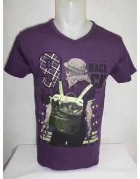 Mor Baskılı Erkek T-shirt