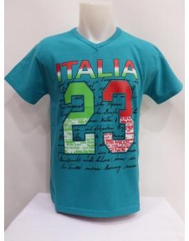 Deniz Mavisi Baskılı Erkek T-shirt