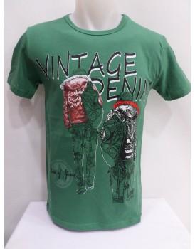 Yeşil Baskılı Erkek T-shirt