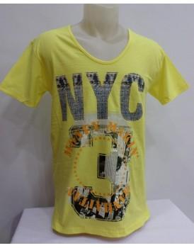Sarı Renkli Baskılı Erkek T-shirt