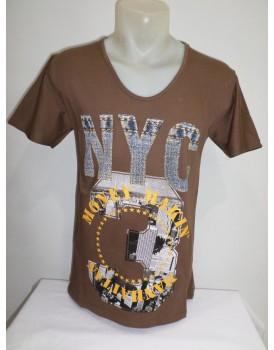 Kahve Rengi Baskılı Erkek T-shirt