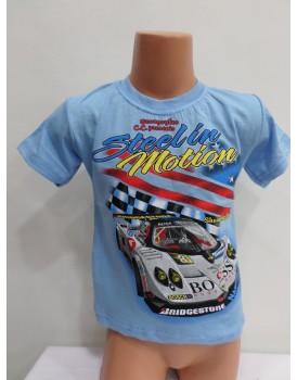 Araba Baskılı Deniz Rengi  Erkek Çocuk T-Shirt