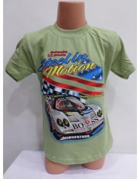 Araba Baskılı Yeşil Erkek Çocuk T-Shirt